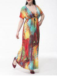 Plus Size Colorful Short Sleeve Empire Waist Maxi Dress