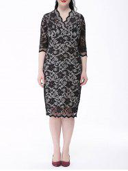 Floral Lace Plus Size Sheath Dress - WHITE AND BLACK 6XL