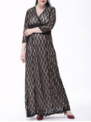 Plus Size Long Formal Party Lace Maxi Dress with Sleeves