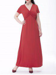 Plus Size Empire Waist Twist Front Maxi Prom Dress