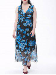 Plus Size Chiffon Flower Print Maxi Dress