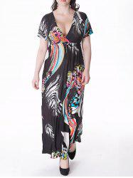Plus Size Empire Waist Butterfly Print Maxi Dress