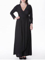 Plus Size Tied Belt Maxi Formal Prom Dress