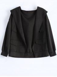 Plus Size Hooded Open Front Jacket with Pockets