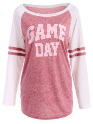 Game Day Print Varsity Striped T-Shirt - LIGHT RED XL