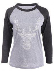 Elk Patterned Raglan Sleeves T-Shirt -