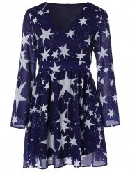 V Neck Star Print Dress
