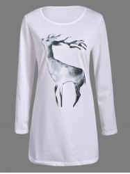 Christmas Animal Reindeer Print Long Sleeve Dress