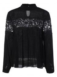 Stand Collar Lace Insert Blouse -