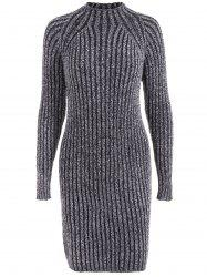Heathered High Neck Ribbed Fitted Jumper Dress