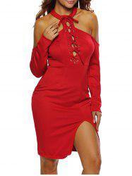 Lace Up Cold Shoulder Night Out Dress -