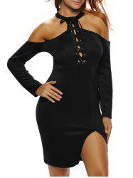 Lace Up Cold Shoulder Night Out Dress
