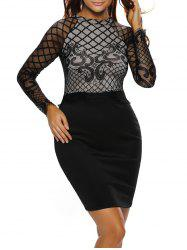 Long Sleeve Lace Panel Dress