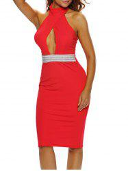 Halter Keyhole Sheath Backless Club Dress