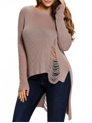 High Low Distressed Long Sweater - KHAKI L