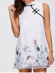 Floral Embroidered Mini Chinese Dress -
