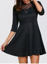 Mesh Inset Mini Fit and Flare Dress