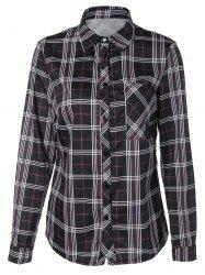 Tartan Long Sleeve Shirt With Front Pocket -