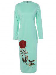 Floral Long Sleeve Crew Neck Fitted Dress - MINT