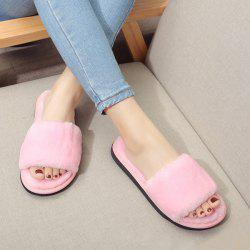 Faux Fur Slippers - PINK