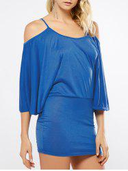 Dolman Sleeve Open Shoulder Mini Dress - BLUE
