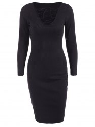 Lace Up Ribbed Long Sleeve Dress - BLACK XL