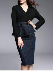 Long Sleeve Peplum Knee Length Work Pencil Dress - BLACK