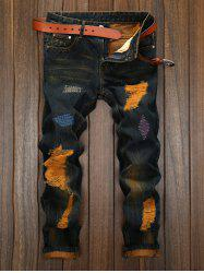 Plus Size Straight Leg Colorful Patch and Holes Design Jeans