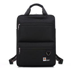 Pocket Nylon Zippers Backpack - BLACK