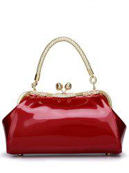 Vintage Kiss Lock Patent Leather Handbag - WINE RED