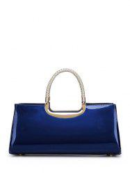 Metal Patent Leather Braid Handbag - DEEP BLUE