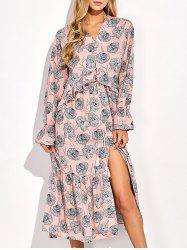 Frilled Printed Long Sleeve Maxi Dress -