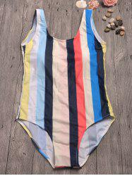 Striped Backless Contrast Swimwear - STRIPE
