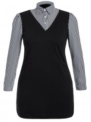 Plus Size Long Sleeve Striped Dress