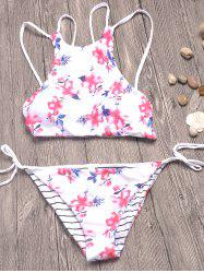 Strappy Floral Print Striped Bikini Set
