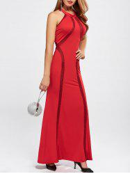 High Neck Floor Length Maxi Prom Evening Dress