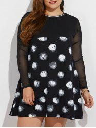 Plus Size Mesh Insert Polka Dot Dress