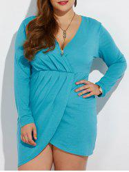 Plus Size Ruched Tulip Dress - LAKE BLUE 3XL