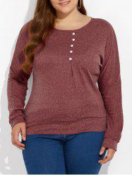 Plus Size Dolman Sleeve Buttoned Sweatshirt - RUSSET-RED