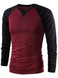 Color Splicing Round Collar Raglan Sleeve T-Shirt - WINE RED