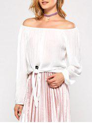 Off The Shoulder Bubble Sleeve Blouse - WHITE 2XL