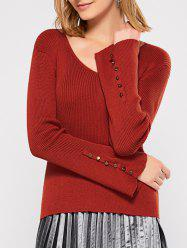 Rib Knit Flared Sleeve Jumper - JACINTH XL