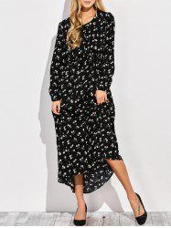 Long Sleeve Floral Maxi Shirt Dress