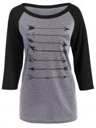 Arrow Print Raglan Sleeves T-Shirt