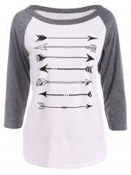 Arrow Print Raglan Sleeves T-Shirt - GRAY L