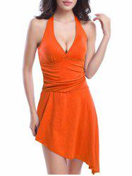Halter Asymmetric Skirted One-Piece Swimwear