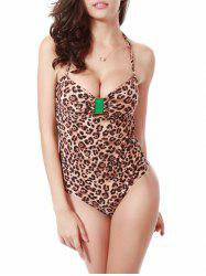 Halter Leopard Push Up Monokini One Piece Swimwear