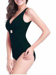 Plunge Rhinestone Backless One-Piece Swimwear