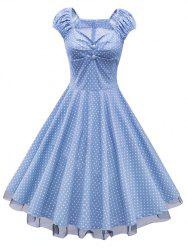 Polka Dot Party Cap Sleeve Lace Trim Dress - CLOUDY M