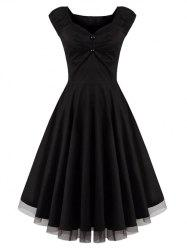 Lace Panel  Ruched Swing Dress - BLACK